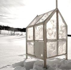 An ice fishing hut t