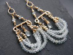 Bohemian Jewelry Aquamarine Earrings Gold by YogaChickJewelry