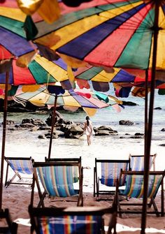 holiday, beach chairs, sand, color, umbrella