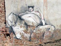 Madrid street art. Photo by Brocco Lee, fantasy, woman, female, brick wall, imagination, body