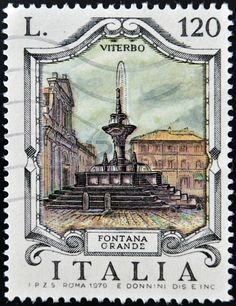 ITALY - CIRCA 1979: a stamp printed in Italy shows Great Fountain, Viterbo, circa 1979