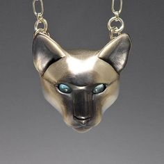 Siamese cat pendant - antiqued sterling silver and blue topaz by Brookestone Jewelery