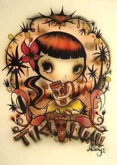 Artist: Misery, New Zealand Tiki Art, Tiki Tiki, Hula Girl, Art For Art Sake, Word Art, Cute Art, Art Images, Creative Art, Jewelry Art