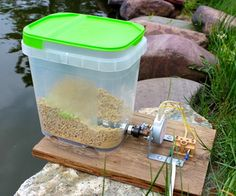 Automatic floating pellet feeder diy ( I would either find an alternative auger or remove the point at the end) Diy Electronics, Electronics Projects, Pet Feeder, Bird Feeders, Freshwater Lobster, Automatic Fish Feeder, Backyard Creations, Diy Pond, Bonsai Styles