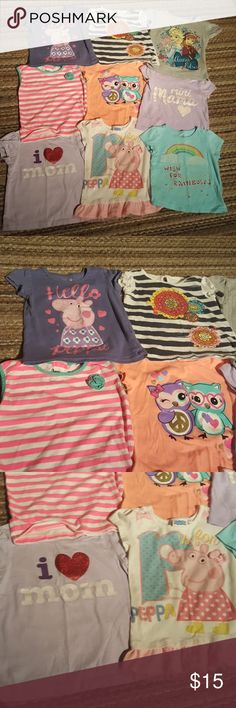 Bundle Toddler shirts All short sleeved 2T/3T girl shirts. All in good condition, but still a lot of life left. No holes, maybe a few stains, nothing too noticeable. Assorted brands, children's place, old navy, peppa pig, Disney, greendog, Circo, faded glory,garanimals assorted brands Shirts & Tops
