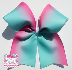 Pink and Turquoise Ombre Cheer Bow by LivinTheBowLife on Etsy
