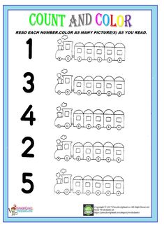train count and color worksheet