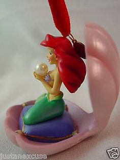 Little Mermaid Ariel Christmas Ornament Oyster Shell Disney Store 2008 Figurine #DisneyStore #ChristmasOrnament