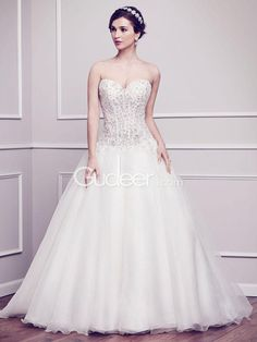 Amazing A Line Strapless Sweetheart Beaded Organza Wedding Dress