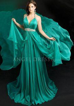 A line Halter Zipper Back Chiffon Floor Length Sleeveless Evening Dress