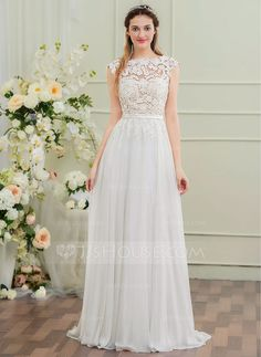[US$ 157.49] A-Line/Princess Scoop Neck Sweep Train Chiffon Wedding Dress With Bow(s)