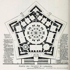 Plan of the Palazzo Farnese, Caprarola Renaissance Architecture, Historical Architecture, Architecture Plan, Ancient Architecture, Palazzo, Building Drawing, Marquise, Futuristic Architecture, Star Shape
