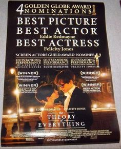 "The Theory Of Everything Genuine Movie Poster, 27""x 40"" Size, Free Shipping Incl"