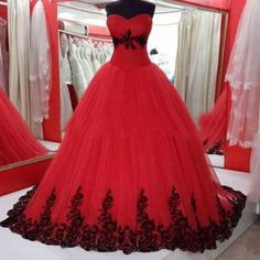 Black And Red Gothic Wedding Dresses Strapless Organza Bridal Gowns Custom 2016 Wedding Robe, Red Wedding Gowns, Black Red Wedding, Bridal Gowns, Lace Wedding, Trendy Wedding, Wedding Veils, Gothic Wedding Dresses, Wedding Cars