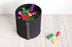 Round basket / Lego Storage Bin / Felt hamper / by WoollyClouds
