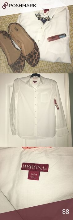 Merona Women's Medium White Button-Up Top This is a listing for a Merona women's medium white button-up top. This top has never been worn, so it's has the tags still attached and it is in perfect condition! This top comes from a non-smoking household. This top would be perfect for the office! $8 Merona Tops Button Down Shirts