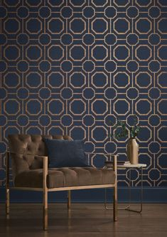Navy is the BIG colour for these coming seasons, gentle on the eye yet moody enough to be perfect for the winter months – you're going to see it everywhere. Here, it's been teamed with gold and this wallpaper is inspired by sashiko, a form of functional embroidery from Japan that uses geometric stitching to mend areas of worn clothes. Keep accessories simple and let this dazzling wallpaper be the focal point of your room. photo credit: GRAHAM & BROWN