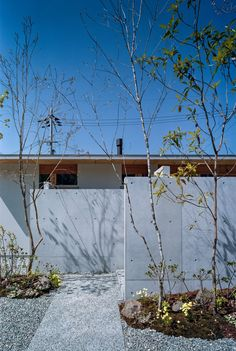 Japanese studio FujiwaraMuro Architects has completed a house near Osaka with concrete walls that separate the interior spaces and extend through walls into the garden. Concrete Interiors, Japanese House, Dezeen, Maze, Rooftop, Facade, Building A House, House Design, Contemporary