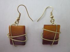 Gold Wire Wrapped Mother of Pearl Earrings by ChandlersDezigns, $22.00