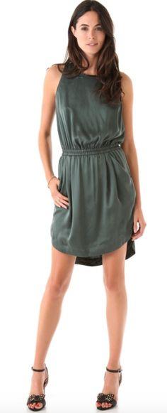$70 Rebecca Taylor Emerald Leather Trim Hi-Lo Dress