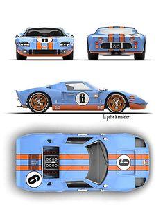 Gulf Art Print by lapatteamodeler Ford Gt40, Bmw M4, Le Mans, Motos Bmw, Ford Motorsport, Bike Cart, Sports Cars Lamborghini, Racing Car Design, Street Racing Cars
