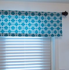 Gotcha Turquoise/White Curtain Valance Window Topper by OldStation