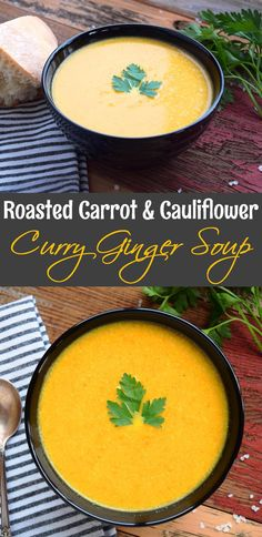 Roasted Carrot and Cauliflower Curry Ginger Soup - I added 2 apples and a dash or 2 of cinnamon. I also added a tsp of tumeric, fresh ginger and coconut milk Curried Carrot Soup, Carrot Curry, Curried Cauliflower Soup, Carrot Ginger Soup, Chili Recipes, Soup Recipes, Cooking Recipes, Curry Recipes, Dinner Recipes