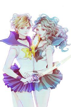 セーラーウラヌス(天王はるか)&セーラーネプチューン(海王みちる) Sailor Uranus (Haruka tenoh) and Sailor Neptune (Michiru Kaioh) - Sailor Moon fanart