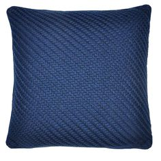 Featuring a chunky woven design, this knitted cushion comes in a smart blue colourway and features a piped edging for added durability. Matching throw available. Knit Pillow, Cotton Pillow, Knitted Cushions, Cottage Renovation, Snug, Throw Pillows, Wool, Design, Living Room