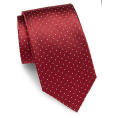 Yves Saint Laurent Dotted Silk Tie (3.535 RUB) ❤ liked on Polyvore featuring men's fashion, men's accessories, men's neckwear, ties, mens polka dot ties, mens silk ties, mens white tie, mens ties and mens red tie