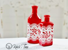 DIY altered bottles, painted with lace detail by Knick of Time