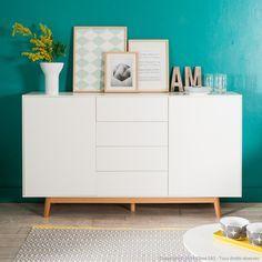 Buffet 2 portes 4 tiroirs en bois laqué blanc piètement chêne JACOBSON kaligrafik port offert