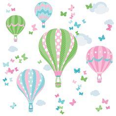 Kinderzimmer Wandsticker mit Heißluftballons in rosa/grün 58-teilig, PVC- und weichmacherfrei, made in Germany
