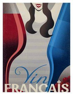 """Vintage Wine Posters- Vin Français - Vintage Ad Follies Collection: """"Vin de France"""" by Anderson Design Group. (Wine Bottle & glass Negative Space Art) #women&wine #cBlues #cRed"""