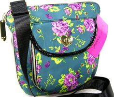 Betsey Johnson Purse Cross Body Hand Bag Teal Flower Dandy Turnlock Roses - http://handbagscouture.net/brands/betsey-johnson/betsey-johnson-purse-cross-body-hand-bag-teal-flower-dandy-turnlock-roses/