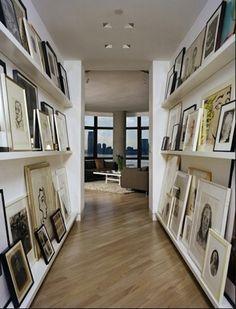 hallway art display.