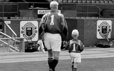Man Utd's greatest ever Goalkeeper Peter Schmeichel with his son (future Leicester City Goalkeeper) Kasper.