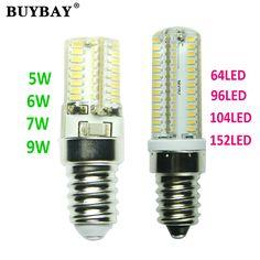 Рождество LED E14 лампа 5 Вт 6 Вт 7 Вт 9 Вт 64-152leds лампада привело 220 В светодиодные Люстры фары Заменить Галогенные свечи освещение