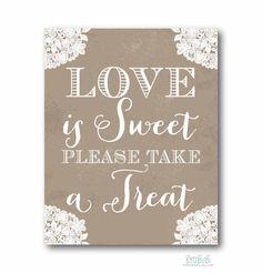 Love Is Sweet Sign 8x10 Instant Download Vintage Lace Rustic for a Wedding Bridal Shower - PRINTABLE DIY Digital Design