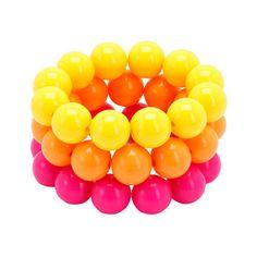 Women's (3 pk) Neon Bead Bracelet Set ($3) ❤ liked on Polyvore