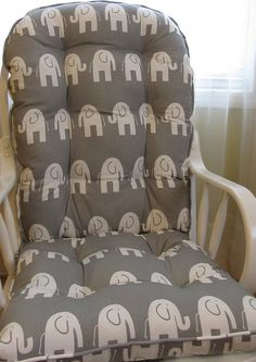 FREE SHIP Glider Or Rocking Chair Cushions Set In Grey With White  Elephants, Dutailier Replacement, Baby Nursery Rockers