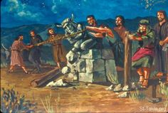 """Now it came to pass the same night that the LORD said to Gideon, """"Take your father's young bull, the second bull of seven years old, and tear down the altar of Baal that your father has, and cut down the wooden image that is beside it (Judges Gideon Bible, Teaching Schools, Teaching Ideas, Bible Illustrations, Bible Pictures, Seven Years Old, Bible Stories, Cartoon Pics, Pencil Drawings"""