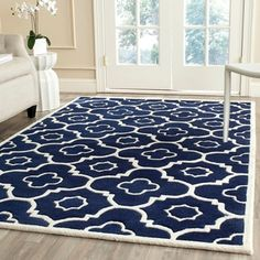 Shop for Safavieh Handmade Moroccan Chatham Dark Blue/ Ivory Wool Rug (4' x 6'). Get free shipping at Overstock.com - Your Online Home Decor Outlet Store! Get 5% in rewards with Club O!