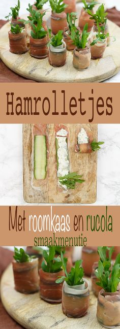 Hamrolletjes met roomkaas en rucola Ham rolls with cream cheese and arugula # recipe # appetizers Appetizer Recipes, Snack Recipes, Cooking Recipes, Snacks Für Party, Food Humor, Appetisers, Food Presentation, Easy Cooking, Finger Foods