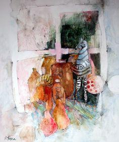 Rauffet Window Watercolour, Graphite Pencil & Gouache - 39 x 46 Watercolor Face, Watercolor Artists, Watercolor Texture, Watercolor Paintings, Watercolors, Sketch Painting, Figure Painting, Shirley Trevena, Expressive Art