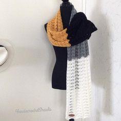 Crochet Scarves, Crochet Shawl, Crochet Lace, Bridal Shawl, Wedding Shawl, Black And White Scarf, Crochet Wedding, Autumn Clothes, Lace Scarf