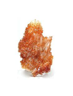 Bright Orange Vanadinite on White Barite Crystal by FenderMinerals