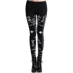 'Letters Graffiti' Black Leggings (150 DKK) ❤ liked on Polyvore featuring pants, leggings, jeans, stretch waist pants, patterned trousers, print trousers, elastic waist pants and cross leggings