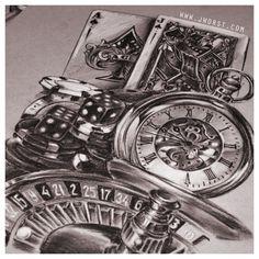 Jeremy Worst casino gambling sketch drawing artwork roulette blackjack poker chips dice craps pocket watch clock tattoo design script lettering dragon