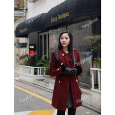 Stylish Solid Color Double-breasted Woolen Topcoat Overcoat with Long Sleeves for Girl Woman NDD-59007